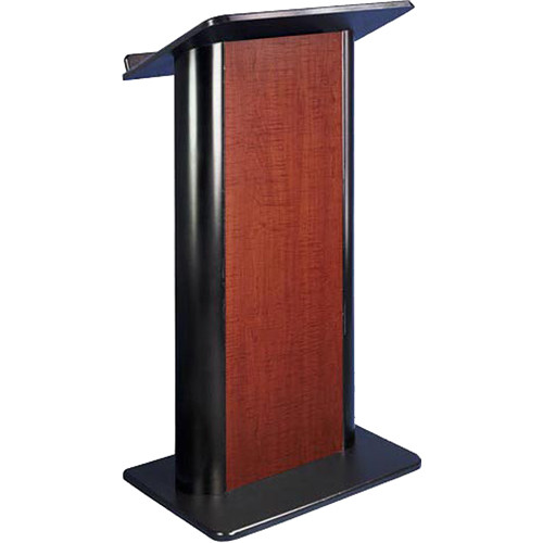 AmpliVox Sound Systems Contemporary Color Panel Lectern with Wireless Sound System (Flat, Cherry)