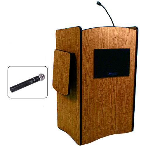 AmpliVox Sound Systems Multimedia Computer Lectern with Wireless Sound System (Handheld Microphone, Cherry)