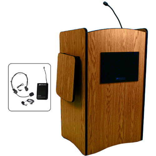AmpliVox Sound Systems Multimedia Computer Lectern with Wireless Sound System (Headset Microphone, Cherry)
