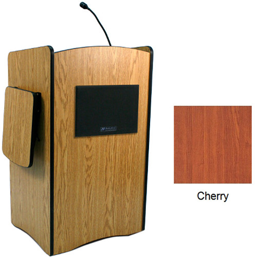 AmpliVox Sound Systems Multimedia Computer Lectern with Wireless Sound System (Lapel Microphone, Cherry)