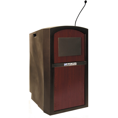 AmpliVox Sound Systems SW3250 Pinnacle Multimedia Lectern with Wireless Handheld Microphone (Mahogany)
