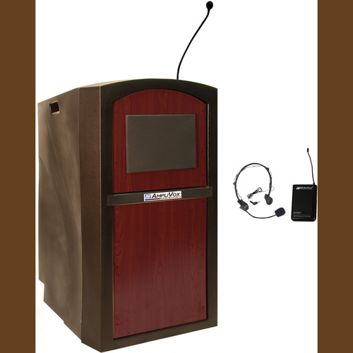 AmpliVox Sound Systems SW3250 Pinnacle Multimedia Lectern with Wireless Headset Microphone (Mahogany)