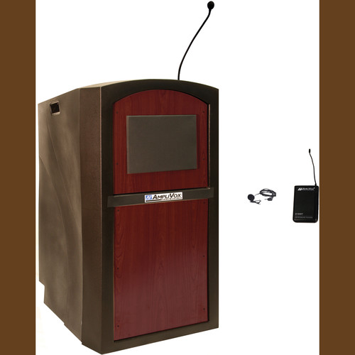 AmpliVox Sound Systems SW3250 Pinnacle Multimedia Lectern with Wireless Lapel Microphone (Mahogany)