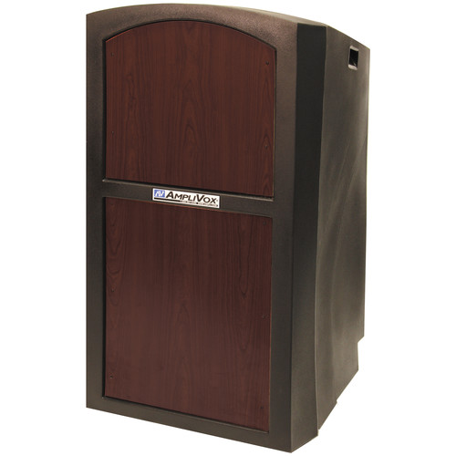 AmpliVox Sound Systems SW3250 Pinnacle Multimedia Lectern with Wireless Collar Microphone (Mahogany)