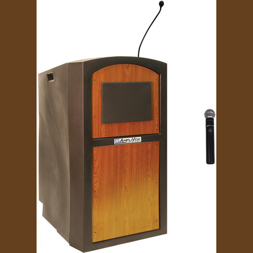 AmpliVox Sound Systems SW3250 Pinnacle Multimedia Lectern with Wireless Handheld Microphone (Medium Oak)