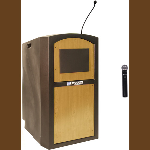 AmpliVox Sound Systems SW3250 Pinnacle Multimedia Lectern with Wireless Handheld Microphone (Maple)