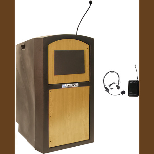 AmpliVox Sound Systems SW3250 Pinnacle Multimedia Lectern with Wireless Headset Microphone (Maple)
