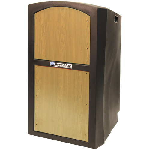 AmpliVox Sound Systems SW3250 Pinnacle Multimedia Lectern with Wireless Collar Microphone (Maple)