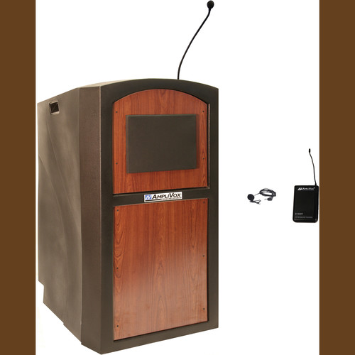 AmpliVox Sound Systems SW3250 Pinnacle Multimedia Lectern with Wireless Lapel Microphone (Select Cherry)