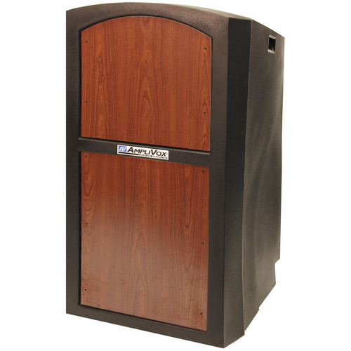 AmpliVox Sound Systems SW3250 Pinnacle Multimedia Lectern with Wireless Collar Microphone (Select Cherry)