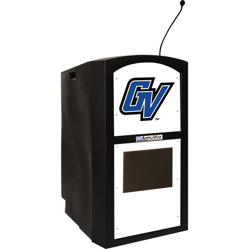 AmpliVox Sound Systems Wireless Collegiate Multimedia Lectern with Custom Insert and Built-In Sound System (Black)