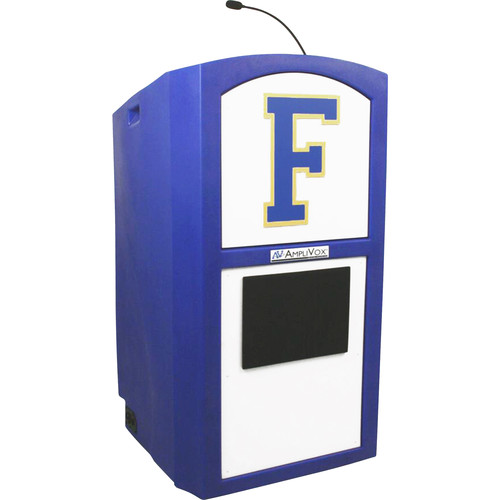 AmpliVox Sound Systems Wireless Collegiate Multimedia Lectern with Custom Insert and Built-In Sound System (Custom Color)