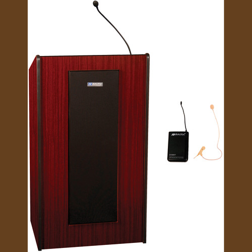 AmpliVox Sound Systems Presidential Plus Lectern with Sound System and Wireless 16 Channel UHF Single Over-Ear Headset Electret Mic Kit (Mahogany)