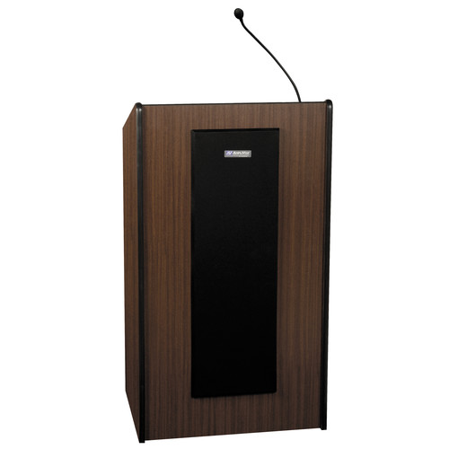AmpliVox Sound Systems Presidential Plus Lectern with Sound System and Wireless 16 Channel UHF Lapel and Headset Mic Kit (Mahogany)