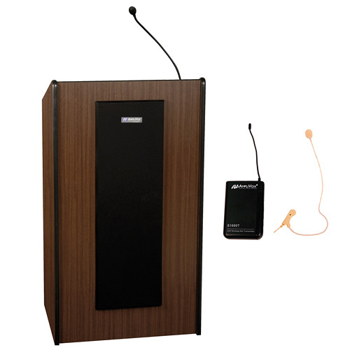 AmpliVox Sound Systems Presidential Plus Lectern with Sound System and Wireless 16 Channel UHF Single Over-Ear Headset Electret Mic Kit (Medium Oak)