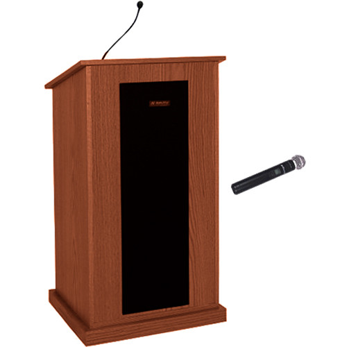 AmpliVox Sound Systems Chancellor Lectern with Hand-Held Microphone (Mahogany)