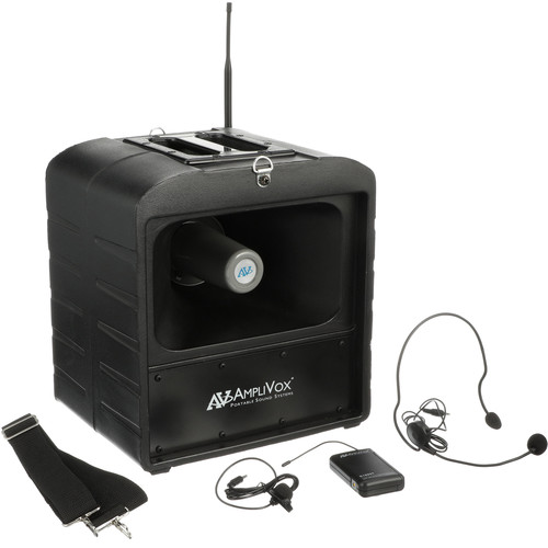 AmpliVox Sound Systems SW680 Bluetooth Mega Hailer PA System with Wireless Headset and Lapel Microphones (584 to 608 MHz)