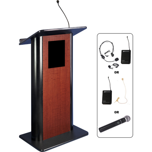 AmpliVox Sound Systems Contemporary Curved Panel Lectern with Wireless Sound