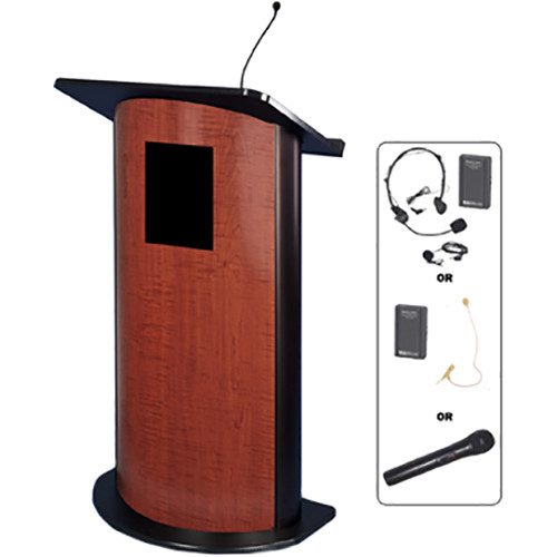 AmpliVox Sound Systems Contemporary Flat Panel Lectern with Wireless Sound