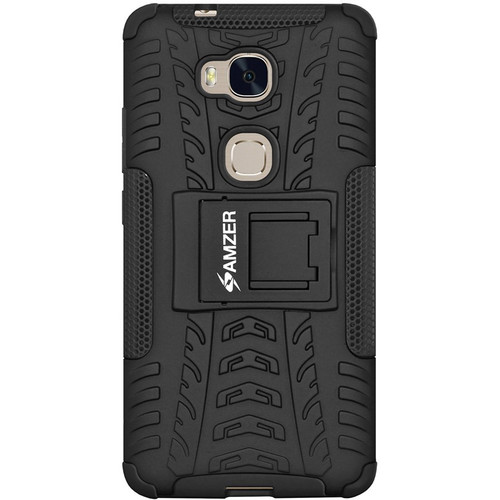 Amzer Hybrid Warrior Case for Huawei Honor 5X (Black/Black)
