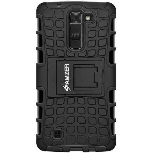 Amzer Hybrid Warrior Case for LG K7 (Black/Black)