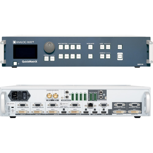 Analog Way 8-Input Hi-Resolution Seamless Matrix Scaler with 2-HDBaseT INs + 2-Mirrored HDMI/HDBaset OutPuts