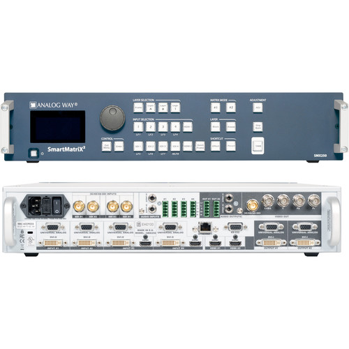 Analog Way 10-Input Hi-Resolution Seamless Matrix Scaler with 4-HDBaseT INs + 2-Mirrored HDMI/HDBaset OutPut