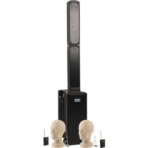 Anchor Audio BEA-BPDUAL Beacon Line Array Speaker Basic Package DUAL with Two UltraLite Microphones