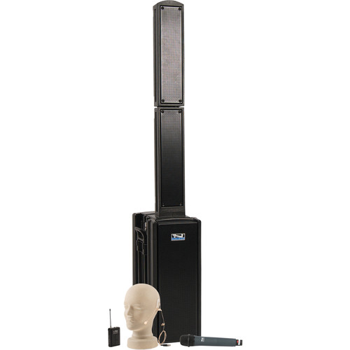 Anchor Audio BEA-BPDUAL Beacon Line Array Speaker Basic Package DUAL with UltraLite and Wireless Handheld Microphones