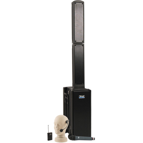 Anchor Audio BEA-BPDUAL Beacon Line Array Speaker Basic Package DUAL with Headband and Wireless Handheld Microphones