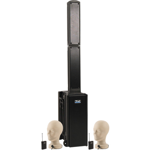 Anchor Audio BEA-BPDUAL Beacon Line Array Speaker Basic Package DUAL with Two Lapel Microphones