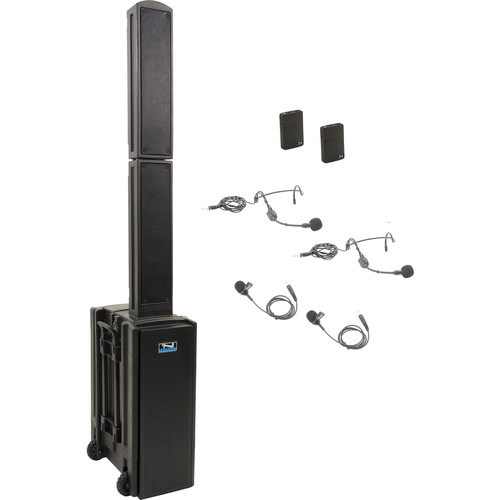 Anchor Audio BEA-DUAL-BB Beacon 2 Dual Package Portable Line Array Sound System with Bluetooth, AIR Transmitter, and Two Bodypack Transmitters (2 x Lavalier Mics, 2 x Headset Mics, 1.9 GHz)