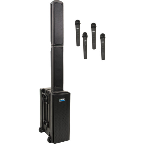 Anchor Audio BEA-QUAD-HHHH Beacon 2 Quad Package Portable Line Array Sound System with Bluetooth, AIR Transmitter, and Four Wireless Handheld Microphone Transmitters (1.9 GHz)