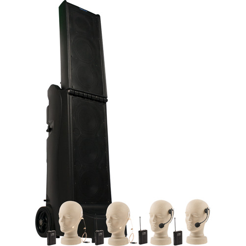 Anchor Audio Bigfoot Quad PA Package with Two HBM-TA4F Headband Mics and Two EM-TA4F UltraLite Mics