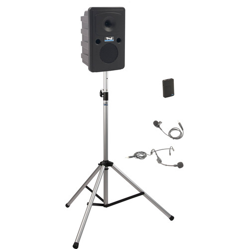 Anchor Audio GG-BP1-B Go Getter Portable Sound System Basic Package 1 with One Wireless Bodypack Transmitter and Speaker Stand (1 x Lavalier Mic, 1 x Headset Mic, 1.9 GHz)