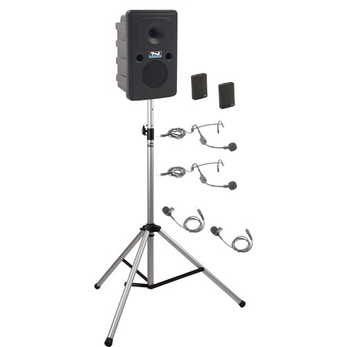 Anchor Audio GG-BP2-BB Go Getter Portable Sound System Basic Package 2 with Two Wireless Bodypack Transmitters and Speaker Stand (2 x Lavalier Mics, 2 x Headset Mics, 1.9 GHz)