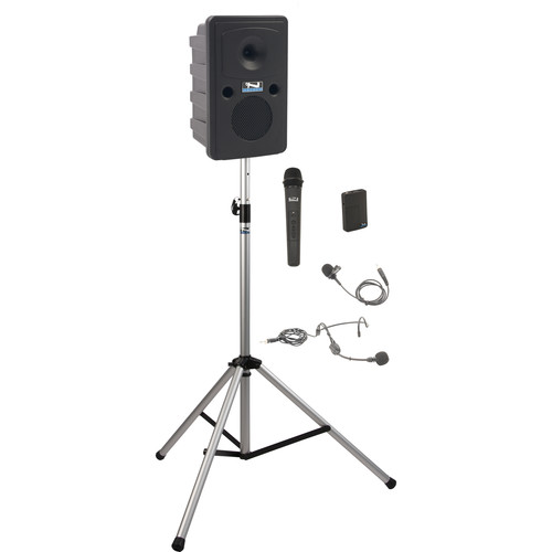 Anchor Audio GG-BP2-HB Go Getter Portable Sound System Basic Package 1 with Bodypack Transmitter & Wireless Handheld Microphone and Speaker Stand (1 x Lavalier Mic, 1 x Headset Mic, 1.9 GHz)