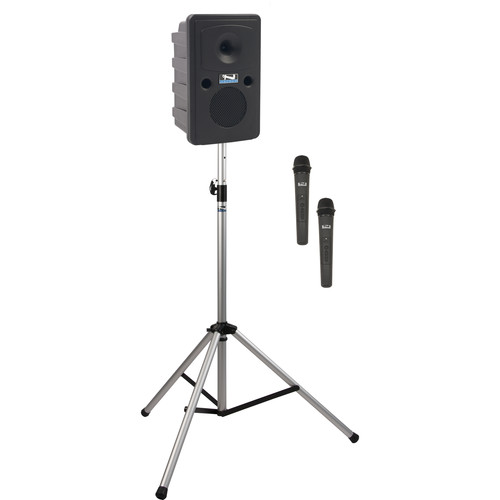 Anchor Audio GG-BP2-HH Go Getter Portable Sound System Basic Package 2 with Two Wireless Handheld Microphones and Speaker Stand (1.9 GHz)