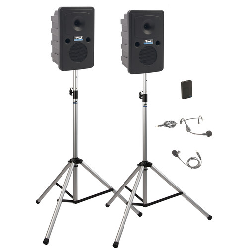 Anchor Audio GG-DP1-AIR-B Go Getter Portable Sound System Deluxe AIR Package 1 with One Wireless Bodypack Transmitter and Wireless Companion Speaker & Speaker Stands (1 x Lavalier Mic, 1 x Headset Mic, 1.9 GHz)
