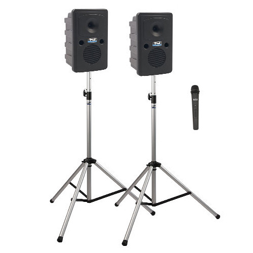 Anchor Audio GG-DP1-AIR-H Go Getter Portable Sound System Deluxe AIR Package 1 with One Wireless Handheld Microphone and Wireless Companion Speaker & Speaker Stands (1.9 GHz)