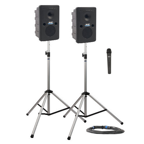 Anchor Audio GG-DP1-B Go Getter Portable Sound System Deluxe Package 1 with One Wireless Handheld Microphone and Unpowered Companion Speaker & Speaker Stands (1.9 GHz)