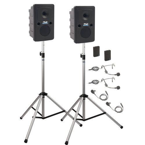 Anchor Audio GG-DP2-AIR-BB Go Getter Portable Sound System Deluxe AIR Package 2 with Two Wireless Bodypack Transmitters and Wireless Companion Speaker & Speaker Stands (2 x Lavalier Mics, 2 x Headset Mics, 1.9 GHz)