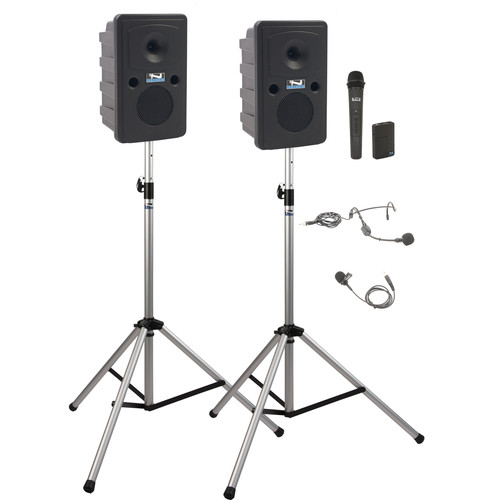 Anchor Audio GG-DP2-AIR-HB Go Getter Portable Sound System Deluxe AIR Package 2 with Bodypack & Wireless Handheld Microphone Transmitters and Wireless Companion Speaker & Speaker Stands (1 x Lavalier Mic, 1 x Headset Mic, 1.9 GHz)