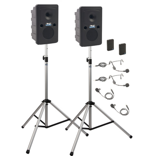 Anchor Audio GG-DP2-BB Go Getter Portable Sound System Deluxe Package 2 with Two Wireless Bodypack Transmitters and Unpowered Companion Speaker & Speaker Stands (2 x Lavalier Mics, 2 x Headset Mics, 1.9 GHz)