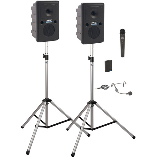 Anchor Audio GG-DP2-HB Go Getter Portable Sound System Deluxe Package 2 with Bodypack & Wireless Handheld Microphone Transmitters and Unpowered Companion Speaker & Speaker Stands (1 x Lavalier Mic, 1 x Headset Mic, 1.9 GHz)