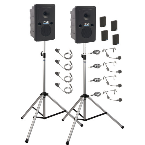 Anchor Audio GG-DP4-AIR-BBBB Go Getter Portable Sound System Deluxe AIR Package 4 with Four Wireless Bodypack Transmitters and Wireless Companion Speaker & Speaker Stands (4 x Lavalier Mics, 4 x Headset Mics, 1.9 GHz)