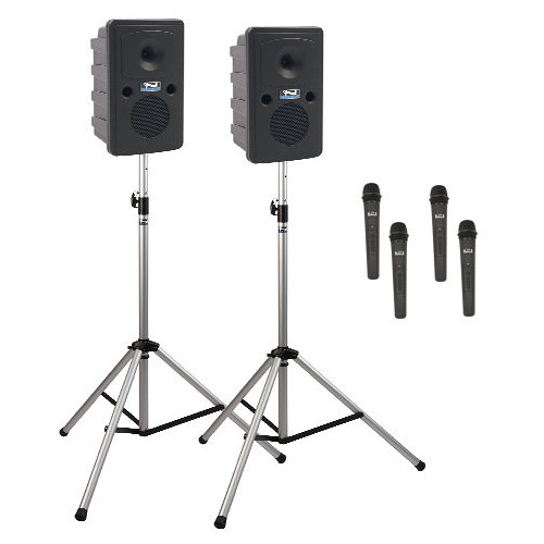 Anchor Audio GG-DP4-AIR-HHHH Go Getter Portable Sound System Deluxe AIR Package 4 with Four Wireless Handheld Microphones and Wireless Companion Speaker & Speaker Stands (1.9 GHz)