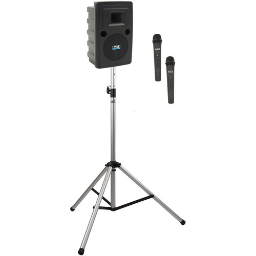 Anchor Audio LIB-BP2-HH Liberty Basic Package 2 Portable Bluetooth PA System with AIR Transmitter, Two Handheld Wireless Microphone Transmitters, and Speaker Stand (1.9 GHz)