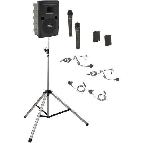 Anchor Audio LIB-BP4-HHBB Liberty Basic Package 4 - Portable Bluetooth PA System with AIR Transmitter, Two Bodypack & Two Wireless Handheld Microphone Transmitters, and Speaker Stand (2 x Lavalier Mics, 2 x Headset Mics, 1.9 GHz)