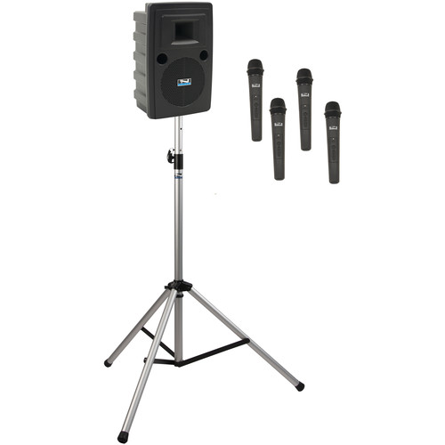 Anchor Audio LIB-BP4-HHHH Liberty Basic Package 4 Portable Bluetooth PA System with AIR Transmitter, Four Handheld Wireless Microphone Transmitters, and Speaker Stand (1.9 GHz)